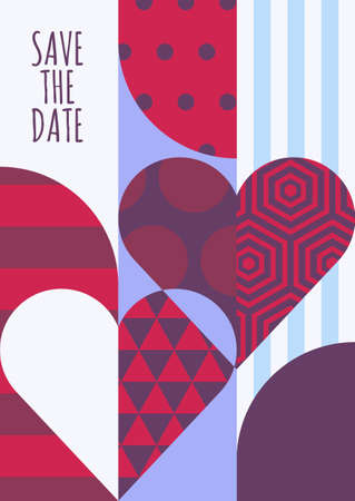 unusual valentine: save the date greeting card. Hearts with geometric pattern, abstract romantic background. Modern concept for wedding, Valentines day, party invitation. Flyer, banner, poster design template.
