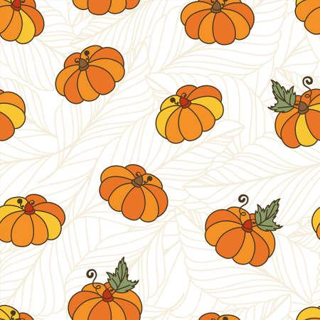 autumn harvest: seamless pattern with orange pumpkins and autumn leaves. Thanksgiving background. Autumn harvest illustration. Colorful doodle print design. Illustration