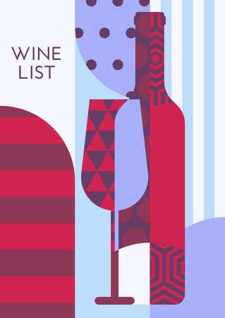 coquetel: modelo de criativo com garrafa de vinho, vidro e padrão multicolor. fundo liso na moda. Conceito para a lista de vinhos, menu de bar, flyer, bebidas alcoólicas, cartaz, banner design.