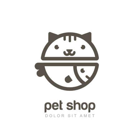 logo poisson: illustration linéaire de museau drôle de chat et de poissons en souriant. Logo icône du modèle de conception. Résumé concept pour animalerie ou vétérinaire. Illustration