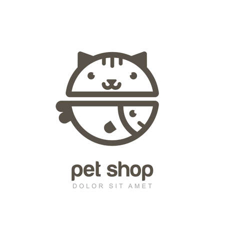 linear illustration of funny muzzle of cat and smiling fish. Logo icon design template. Abstract concept for pet shop or veterinary. Vectores