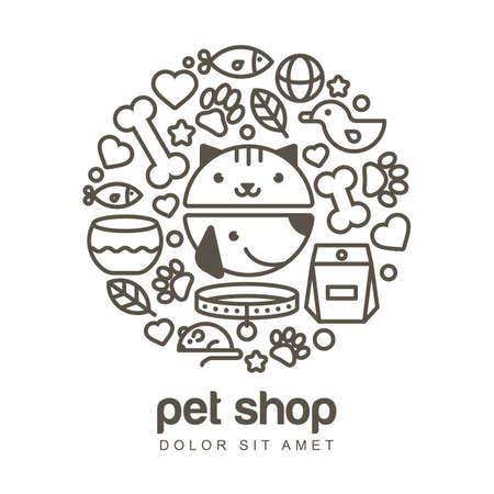pelota caricatura: ilustraci�n lineal de boca divertida del gato y el perro. Art�culos para animales, conjunto de iconos. Concepto de dise�o abstracto para la tienda de animales o veterinaria.