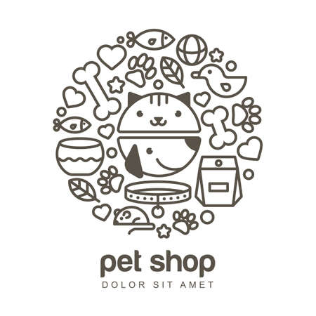 Linear illustration of funny muzzle of cat and dog. Goods for animals, icons set. Abstract design concept for pet shop or veterinary.