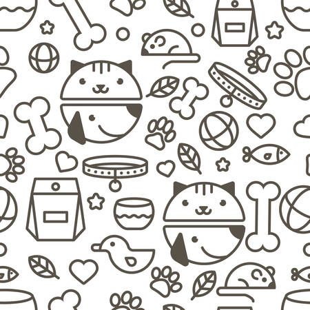 veterinary icon: seamless pattern with linear muzzle of cat and dog, goods for animals. Abstract design concept for pet shop or veterinary. Black and white simple background.