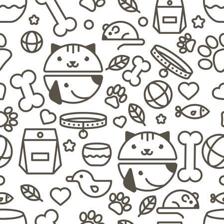 veterinaria: sin patrón, con el hocico lineal de gato y perro, productos para animales. Concepto de diseño abstracto para la tienda de animales o veterinaria. simple fondo blanco y negro.