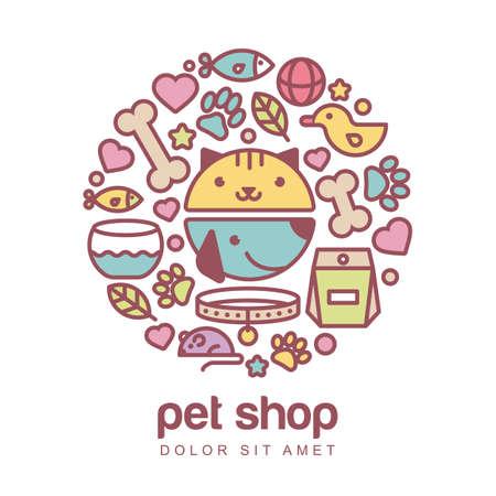 estilo colorido ilustración plana del hocico divertida del gato y el perro. Artículos para animales, conjunto de iconos. Concepto de diseño abstracto para la tienda de animales o veterinaria. Ilustración de vector