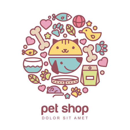 shop: Flat style colorful illustration of funny muzzle of cat and dog. Goods for animals, icons set. Abstract design concept for pet shop or veterinary.