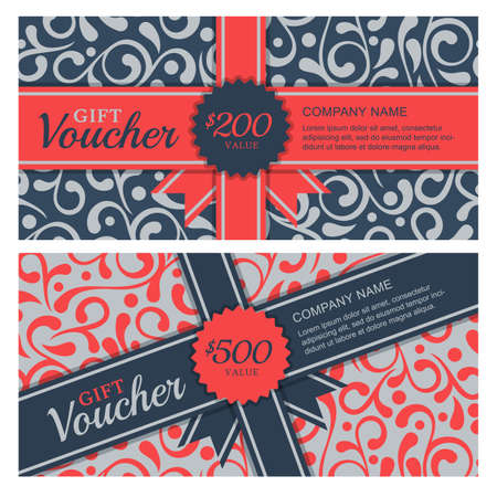 gift voucher with flourish ornament background and ribbon. Decorative business card template. Floral design concept for boutique, beauty salon, spa, fashion, flyer, invitation. Ilustracja
