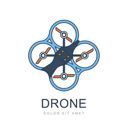 unmanned: Colorful illustration of flying drone. Flat style trendy design. Quadrocopter icon isolated on white background.
