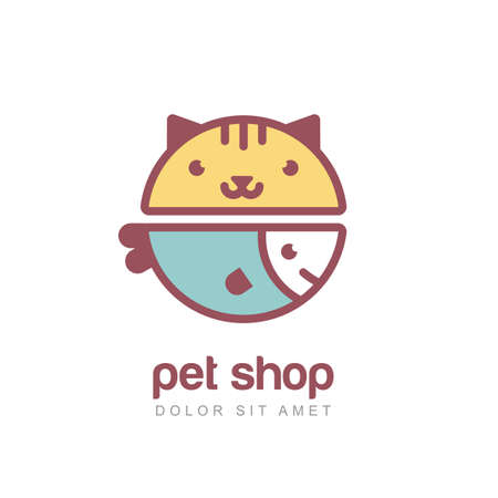 doctor fish: Flat style colorful illustration of funny muzzle of cat and smiling fish.  icon design template. Abstract concept for pet shop or veterinary.