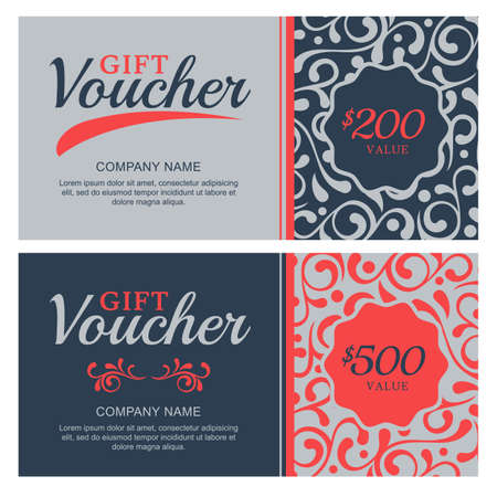 gift certificate: gift voucher with flourish ornament background. Decorative business card template. Floral design concept for boutique, beauty salon, spa, fashion, flyer, invitation.