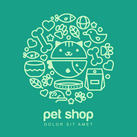 shop for animals: Linear illustration of funny muzzle of cat and fish on green background. Goods for animals, icons set. Abstract design concept for pet shop or veterinary. Illustration
