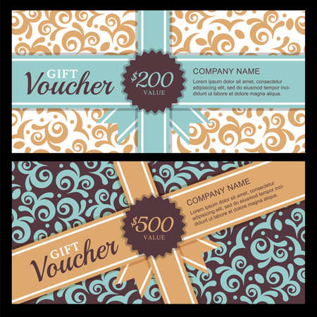 vintage card: Vector gift voucher with vintage ornament background and ribbon. Decorative business card template. Floral design concept for boutique, beauty salon, spa, fashion, flyer, invitation.