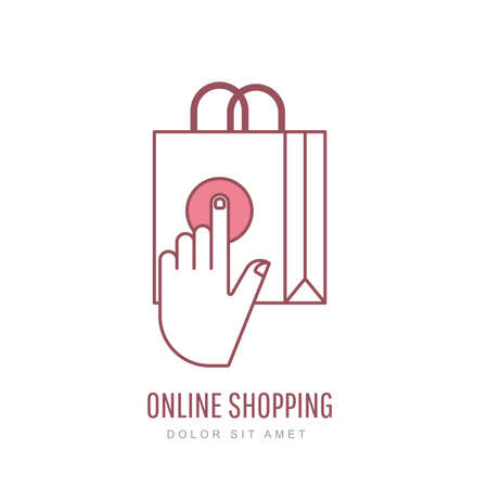 internet logo: Online shopping and e-commerce linear style illustration. Vector logo design template. Hand pointer symbol and shopping bag. Design concept for buying goods via internet shop.