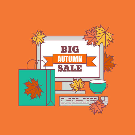 Autumn sale background. Vector flat illustration. Flat icons of bag, cup, maple leaf and computer. Concept for buying goods via internet store, online shopping, banner, flyer design. Illustration
