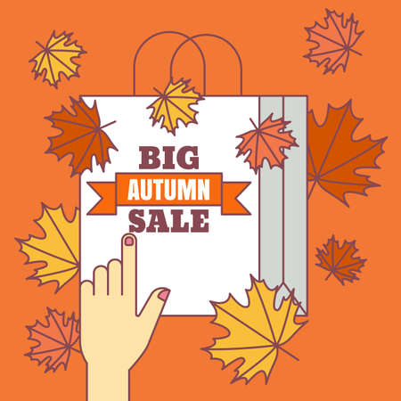 sale icons: Big autumn sale background. Vector flat style illustration. Flat icons of bag and colorful maple leaves. Concept for buying goods via internet store, online shopping, banner, flyer design.
