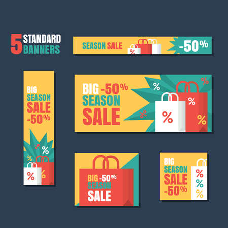 Set of standard vector banners template. Season sale background, flat colorful illustration. Concept for buying goods via internet store, online shopping, banner, flyer design.