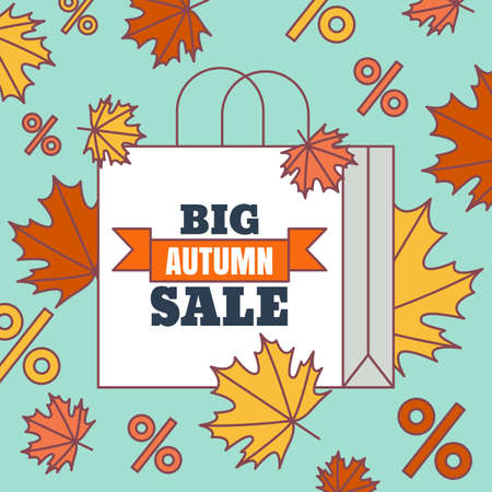 Big autumn sale flat background. Vector colorful illustration of bag, percent symbols and colorful maple leaves. Concept for buying goods via internet store, online shopping, banner, flyer design.