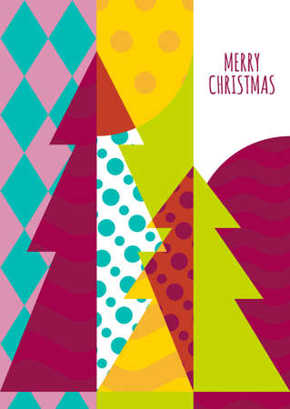 invitations card: Vector greeting card template. Christmas tree with geometric pattern, abstract holiday background. Trendy concept for New Year celebration, party invitation. Flyer, banner, poster design.