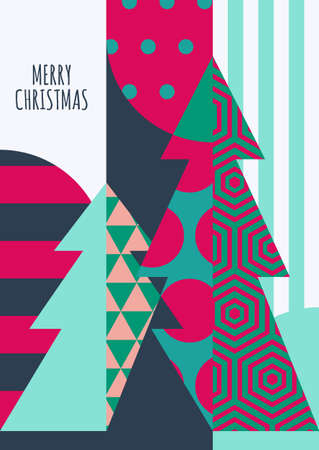 christmas party: Vector Christmas or New Year greeting card template. Decorated fir tree with geometric pattern, abstract holiday background. Trendy concept for party invitation, flyer, banner, poster design.
