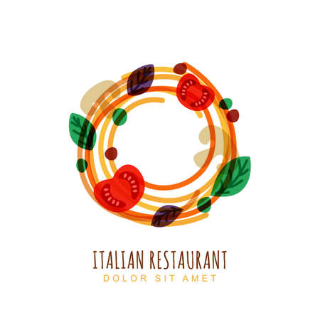 Hand drawn doodle illustration of italian spaghetti with tomato, mushrooms and basil. Abstract vector logo design template. Trendy concept for pasta label, restaurant menu, cafe, fast food, pizzeria.