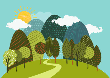 Vector spring or summer landscape background. Road in the forest, mountains, hills, green trees, clouds and sun on the sky. Hand drawn doodle illustration of nature.