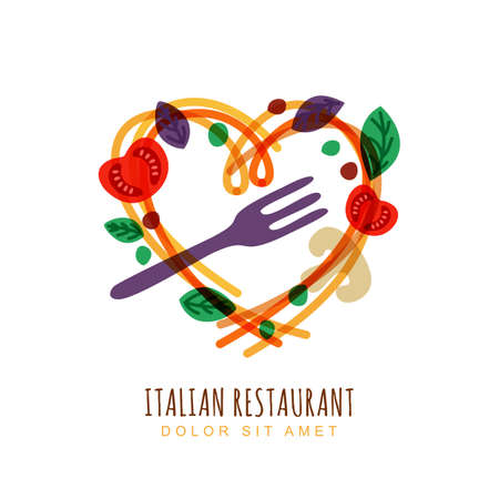 Hand drawn illustration of italian spaghetti in heart shape, tomato, basil and fork. Abstract vector logo design template. Trendy concept for pasta label, restaurant menu, cafe, fast food, pizzeria.