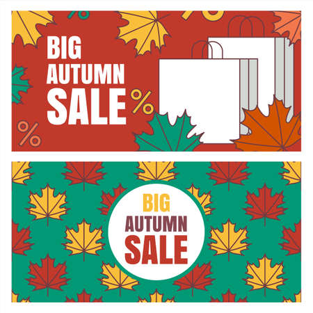 Set of autumn sale banners background. Vector seamless pattern with fall maple leaves. Flat illustration of paper bags. Template for buying goods via internet store, online shopping, flyer design.