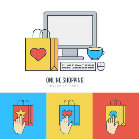 online logo: Set vector flat style illustration, online shopping and e-commerce theme. Colorful linear logo and icons design template. Trendy design concept for buying goods via internet shop.