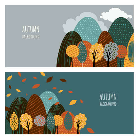 hand drawing: Set of vector horizontal banners with place for text. Doodle flat illustration of mountain landscape and autumn yellow trees. Creative nature hand drawn background. Illustration