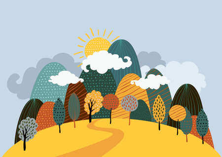 yellow hills: Vector autumn landscape background. Road in the forest, mountains, hills, yellow trees, clouds and sun on the sky. Hand drawn doodle illustration of nature.