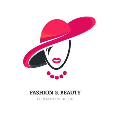 Jonge vrouw met roze lippen in de mode hoed en ketting. Abstract vector logo ontwerp sjabloon met meisje silhouet. Concept voor schoonheidssalon, accessoires, mode, cosmetica. Stock Illustratie