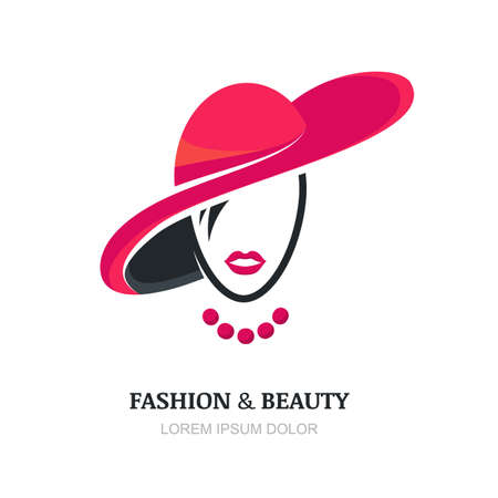 Young woman with pink lips in fashion hat and necklace. Abstract vector logo design template with girl silhouette. Concept for beauty salon, accessories, fashion, cosmetics.