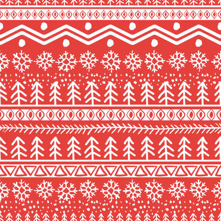 christmas snowflakes: Vector seamless hand drawn pattern in red and white colors. Christmas or New Year doodle ornament. Trendy background design concept for greeting cards, print, holiday package and wrapping. Illustration