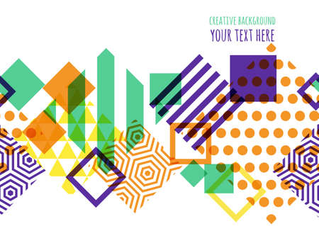 Naadloze vector geometrische achtergrond met plaats voor tekst. Abstract creatief concept voor flyer, uitnodiging, wenskaart, poster ontwerp. Vierkante patroon in paars, groen, oranje kleuren.