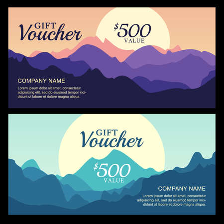 mountain view: Vector gift voucher with mountain landscape view. Business card template. Nature background. Abstract design concept for flyer, banner, travel, tourism or ecology theme.