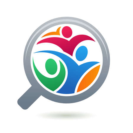 hiring: Colorful abstract people silhouette in magnifier shape. Vector logo design template. Concept for social network, search for employees and job, business, human resource and professional headhunting.