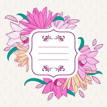 Square white frame with pink lotus and lily flowers. Vector floral background and seamless leaf pattern. Design concept for wedding invitation, save the date, birthday card, flyer, banner design.