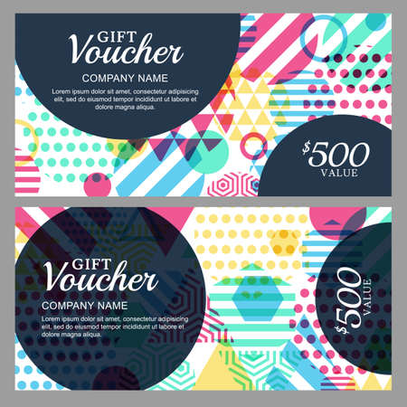 accessorize: Vector gift voucher with colorful geometric pattern. Business card template. Abstract creative background. Concept for boutique, fashion shop, accessorize, jewelry, flyer, banner design.