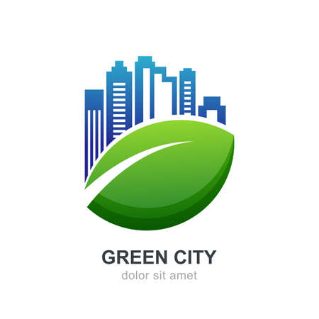 agence immobiliere: Illustration of green leaf with city buildings silhouette. Vector logo design template. Abstract concept for ecology theme, real estate agency, building company, urban landscape, city life.