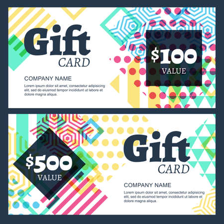 accessorize: Vector gift voucher with multicolor geometric pattern. Business card template. Abstract creative background. Concept for boutique, fashion shop, accessorize, jewelry, flyer, banner design.