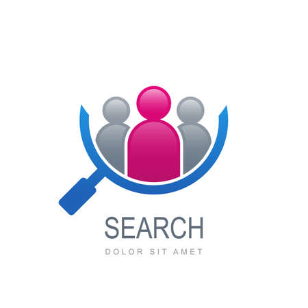 Silhouette abstraite de personnes en forme de loupe. Modèle de logo vectoriel. Concept de design pour la recherche d'employés et d'emplois, d'entreprises, de ressources humaines et de chasseurs de têtes professionnels, réseau social.