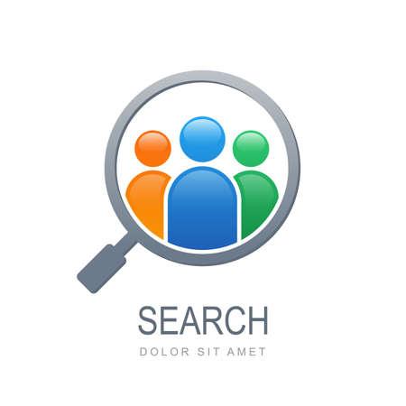 여러 가지 빛깔의 사람들은 돋보기 모양의 실루엣. 벡터 로고 디자인 템플릿입니다. 직원 및 작업, 비즈니스, 인적 자원 및 전문 헤드헌팅, 소셜 네트워