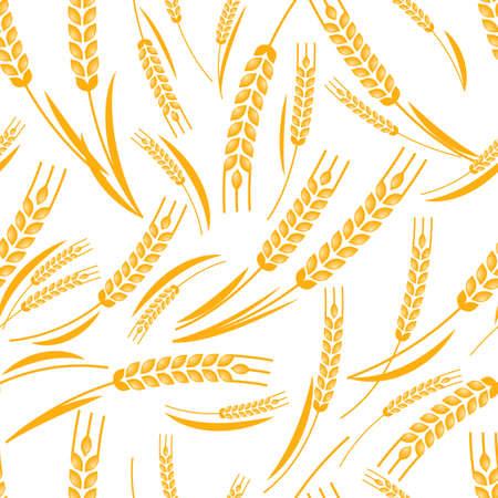 produits céréaliers: Vector seamless pattern avec l'oreille mûre or du blé. Résumé concept pour les produits biologiques, la récolte, les céréales, la boulangerie, de la nourriture saine. Agriculture et élevage fond. Illustration