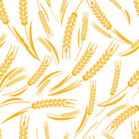 produits c�r�aliers: Vector seamless pattern with golden ripe ear of wheat. Abstract concept for organic products, harvest, grain, bakery, healthy food. Agriculture and farming background.