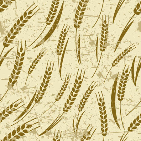 wheat harvest: Vector seamless old grunge pattern with ripe ear of wheat. Abstract concept for organic products, harvest, grain, bakery, healthy food. Agriculture and farming background. Illustration