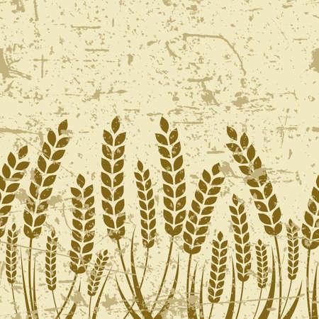 produits céréaliers: Vector seamless horizontal vieux fond grunge avec l'oreille mûr de blé. Résumé concept pour les produits biologiques, la récolte, les céréales, la boulangerie, de la nourriture saine.