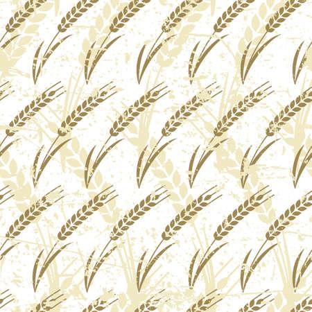 produits céréaliers: Vector seamless pattern avec l'oreille mûr de blé. Résumé concept pour les produits biologiques, la récolte, les céréales, la boulangerie, de la nourriture saine. Agriculture et élevage vieux fond grunge.