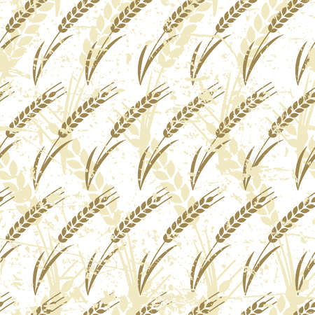 produits c�r�aliers: Vector seamless pattern with ripe ear of wheat. Abstract concept for organic products, harvest, grain, bakery, healthy food. Agriculture and farming old grunge background.