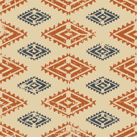 fashion design: Vector seamless ethnic tribal pattern. Trendy aztec background in beige, orange, brown pastel colors. Grunge old texture. Design concept for fashion textile print.
